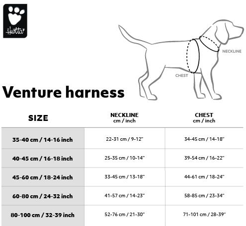 Hurtta Venture Harness Size Chart